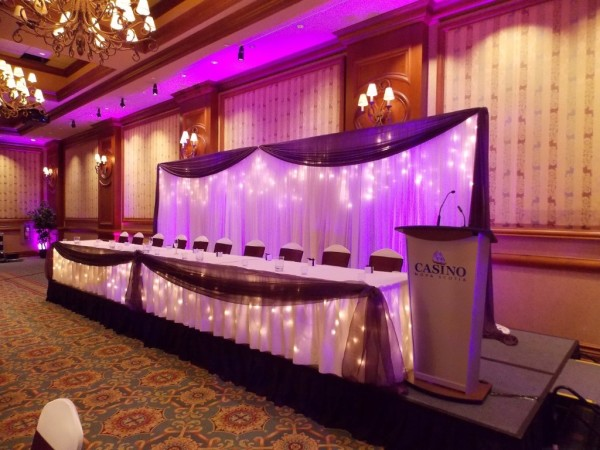 LED Uplighting & Head Table for Wedding in Halifax, Nova Scotia