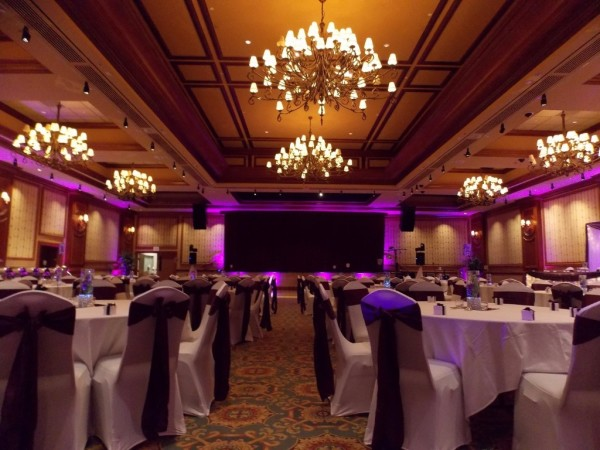LED Uplighting for Wedding Reception at the Halifax Casino, Nova Scotia