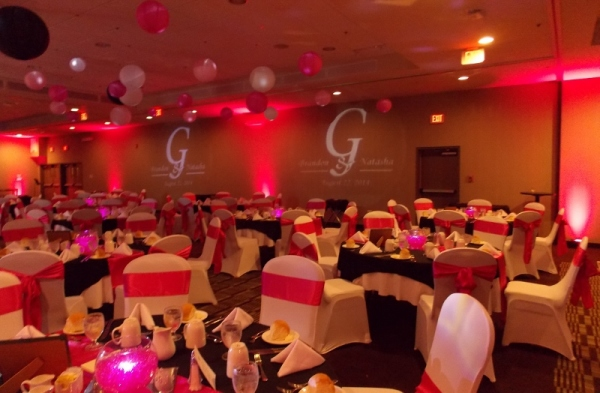 Red LED Uplighting with Two Personalized Monograms