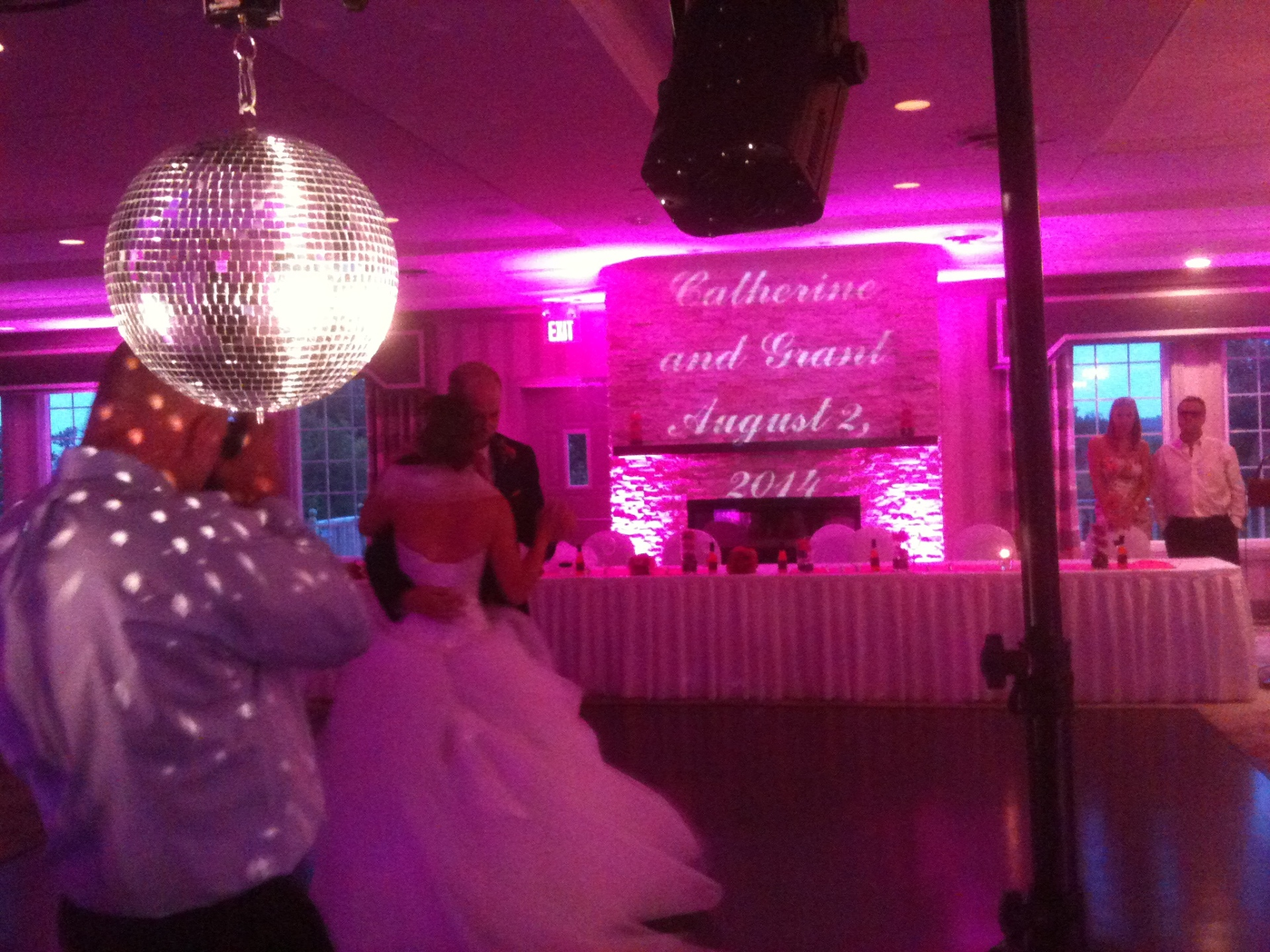 Pink LED Uplighting and Personalized Monogram